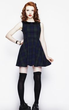 Hell Bunny Megan Gothic Dress - Dublin Tartan