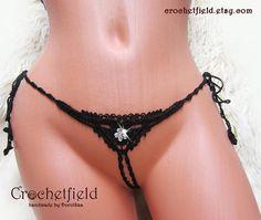 Black crochet CRYSTAL FLOWERS mini g-string ouvert thong