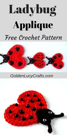 A beautiful crochet Ladybug Applique for all Ladybug lovers! Free crochet pattern, easy to make and perfect for any embellishment! Crochet Bee Applique, Crochet Ladybug, Crochet Butterfly Pattern, Crochet Motifs, Free Crochet, Crochet Flowers, Crochet Patterns, Crochet Thread Size 10, Single Crochet Stitch