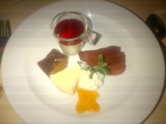 """""""Dessert surprise"""" (""""homemade gingerbread, pear honey parfait, a red wine pear and white chocolate mousse with rum"""") @ Restaurant Lapin @ Hotel de la Paix"""