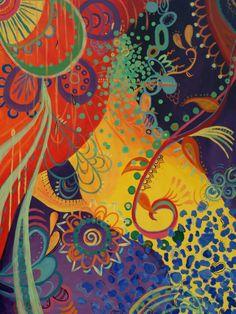Introspección: Pintura acrílica bohemio por ArtByARose en Etsy