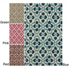 @Overstock - This area rug rug is crafted with easy-to-clean yarns that prevents shedding, unlike wool. The rug features a   variety of modern shades that will enhance your decorative scheme.http://www.overstock.com/Home-Garden/Handmade-Trellis-Ikat-Rug-5-x-8/7277543/product.html?CID=214117 $148.74