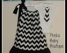 Matching Sibling Outfit Set in Blue Chevron by PeekaBabyBoutique