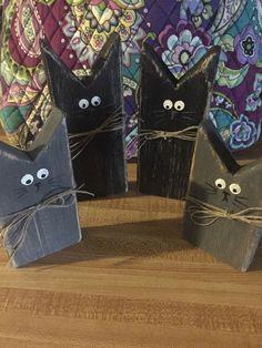 Wooden Block Black Cats Shelf Sitters Halloween Fall | eBay