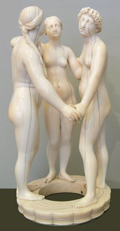 The Three Graces (1650), ivory carving by German sculptor Leonhard Kern (1588-1662) from the collection: Kunstkammer Würth, Sammlung Würth, Bode-Museum, Berlin, Germany.