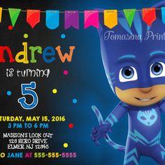 Catboy PJ Masks Inspired Birthday Invitation Printable