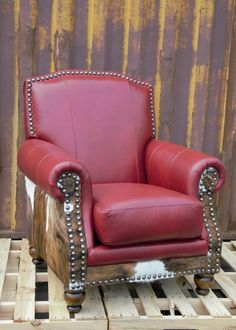 Western Revelation Leather Chair Barn Red Leather Lounge, Leather Sofa, Traditional Chairs, Chair And Ottoman Set, Red Barns, Foam Cushions, Rustic Furniture, Interior Styling, Cool Things To Buy