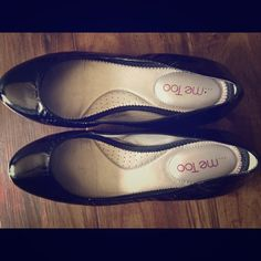 Me Too black patent leather flats with silver heel These sweet flats can go the distance!!! Extremely comfortable but flattering and adorable!!! Very light wear. Padded soles make these perfect for all day!!! me too Shoes Flats & Loafers