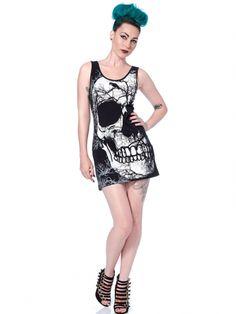 """Women's """"Half Skull"""" T Dress by Jawbreaker (Black)"""