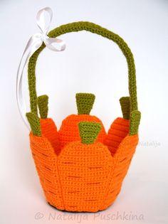 Häkelanleitung für Karottenkörbchen in 2 Designs