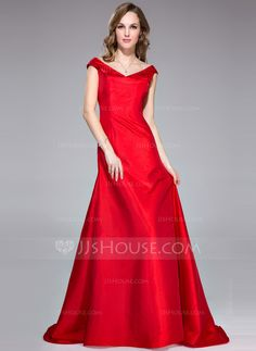 Trumpet/Mermaid Off-the-Shoulder Sweep Train Taffeta Evening Dress (017042363)