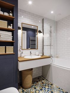 10 Bathroom Design & Remodeling Ideas On A Budget - Bathroom Ideas Bathroom Shelf Decor, Budget Bathroom, Bathroom Colors, Small Bathroom, Master Bathroom, Bathroom Ideas, Bathroom Wall, Bathroom Storage, Niche Decor