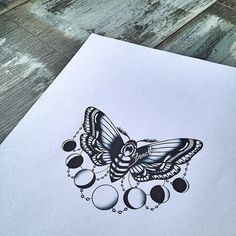 Oldschool moth with moon phases, instead of a moth, maybe a butterfly or bumble bee