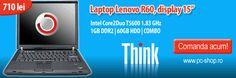 """Nou in oferta Pc Shop!  Laptopul Lenovo R60, display 15"""", cu procesor Intel Core2Duo T5600, 1GB RAM, 60GB HDD, COMBO, la numai 710 lei!  Comanda acum si economisesti 190 de lei!"""