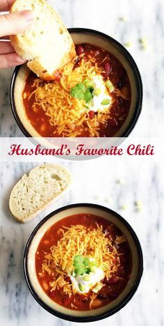 Husband approved chili recipe! The perfect dinner for stormy summer nights.