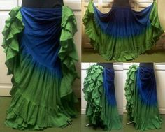 """LONG 25 Yard 4 Tier Skirt Belly Dance Gypsy Skirt 39"""" in Clothing, Shoes &…"""