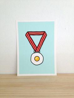 Breakfast Of Champions  Art Print A4 by Haasbroek on Etsy, $35.00
