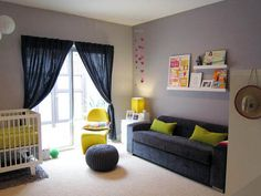 Green with Envy: Adding Chartreuse to Kids' Rooms | Apartment Therapy---great idea for sofa/futon in nursery for guest bed
