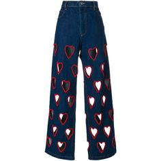 Ashish Cut-Out Heart Flared Jeans ($1,890) ❤ liked on Polyvore featuring jeans, pants, bottoms, pantalones, trousers, flare jeans, embroidery jeans, embroidered denim jeans, ashish and blue denim jeans