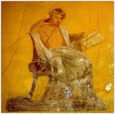 The playwright Menander.  Fresco from the House of Menander, Pompeii.