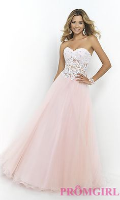 Long Strapless Sweetheart Ball Gown by Blush at PromGirl.com