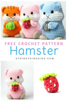 Hamster Amigurumi - Free Crochet Pattern Make a super cute hamster with this free crochet pattern! You can even make them hold some fruit or a seed. Visit my site now to make it. Crochet Animal Patterns, Crochet Patterns Amigurumi, Stuffed Animal Patterns, Crochet Animals, Crochet Dolls, Crochet Stuffed Animals, Crochet Pattern Free, Crocheted Toys, Amigurumi Doll