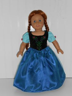 Disney Inspired Frozen Dress for 18 Doll by Dress4Dolly on Etsy, $29.99