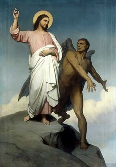 Ary Scheffer - The Temptation of Christ, 1854. The forty days of Lent is the annual retreat of the people of God in imitation of Jesus' forty days in the wilderness.