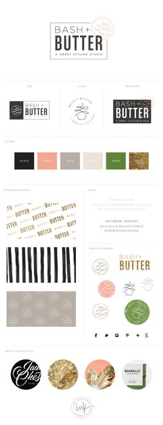 another simply lovely design…in green peach black gold | logo | Brand Identity | design presentation | color palette |  Bash + Butter - Salted Ink Design Co.