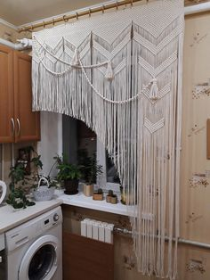 Short Window Curtains, Kitchen Window Valances, Door Curtains, Kitchen Curtains, Kitchen Curtain Designs, Curtains Living, Rustic Window Decor, Boho Dekor, Macrame Curtain