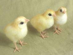 needle felted chicks