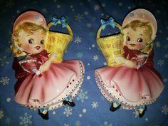 2 RARE pink signed 1956 geo Lefton Dainty Miss Wall Pocket plaque Vintage 50264