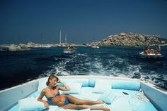 S is for Sail Away, Sail Away And for sun-kissed. And for Slim Aarons. Above, the photographer captures Princess Pia Ruspoli off Mortorio Island, Italy, in Photographed by Slim Aarons/Getty. Slim Aarons, Lac Tahoe, Attractive People, Photographic Prints, Summer 2015, Jet Set, Seaside, Summertime, Photos