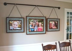 Iron Pipe Family DIY Photo Display After building rustic picture frames out of some scrap lumber, we designed a unique way to hang them on our dining room wall. Iron pipe is affordable and easy t… Exposition Photo, Ideas Vintage, Rustic Picture Frames, Hanging Picture Frames, Window Frames, Rustic Frames, Display Family Photos, Rustic Pictures, Family Pictures