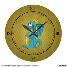 Clock with dragon cartoon