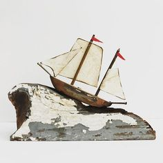 miniatures by Kirsty Elson Driftwood Projects, Driftwood Art, Driftwood Ideas, Kirsty Elson, Boat Decor, Reclaimed Wood Art, Wood Boats, Sea Theme, Beach Signs