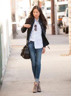 Shop this look on Kaleidoscope (sweater, blouse, jeans, bootie, sunglasses)  http://kalei.do/WfK6mixNPblmMro1