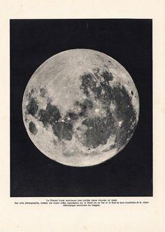 Full Moon Telescope Photo Print 1940s