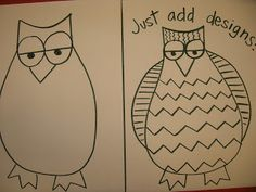 The Elementary Art Room!: Guided Drawing: Owls!  Add black glue on top of drawing.  Then watercolor it in.