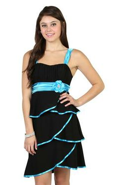 Tiered Party Dress with Empire Waist Tie and Lace Bodicet his is my homecoming dress, but it's purples