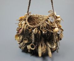 Vintage Tribal Ceremonial Bag.Papua New Guinea Shell BILUM Bag | Tooth| Seeds| Sea Urchins|Shells|Natural|Oceanic Art