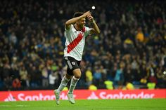 Gonzalo Martinez of River Plate celebrates after scoring his team's third goal during the second leg of the final match of Copa CONMEBOL Libertadores 2018 between Boca Juniors and River Plate at. Get premium, high resolution news photos at Getty Images Rugby, Messi, Scores, First Time, Two By Two, Plates, Running, Celebrities, The Guardian