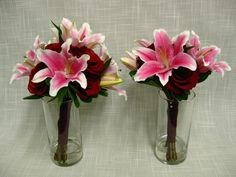 Wedding bouquets of pink oriental lilies and red roses