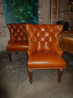 Pair Of Tufted Leather Chairs — Sarah Cyrus Home