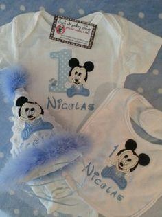 Baby Mickey 1st Birthday Personalized Onesie, Bib, and Party Hat Set