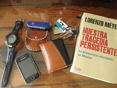 Casio Pathfinder ($157)    Victorinox CyberTool 34 ($94)    Coin Pouch    Office keys    Samsung Phone    Handmade Wallet from León, Guanajuato