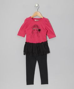 Take a look at this Fuchsia Layered Tunic & Black Leggings - Toddler by My Sweet Doll on #zulily today!