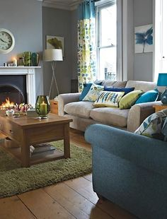 Blues Greens And Grey Tones Come Together With The Right Proportions To Ensure This Living
