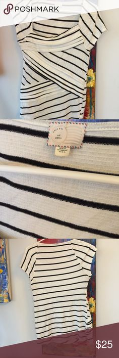 Lovely Postmark top from Anthropologie Such a cute and ultra flattering top.  Black and white stripes.  Really cute.  In never wore it.  😕 Anthropologie Tops Tees - Short Sleeve