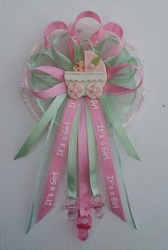 Pink and green Baby Shower Mommy corsage with carriage centerpiece